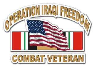 Operation Iraqi Freedom Sticker Combat Veteran With American Flag Decal Sticker