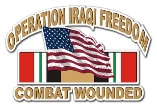 Operation Iraqi Freedom Sticker Combat Wounded with American Flag and Ribbon Decal Sticker