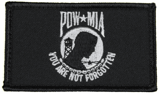 POW/MIA 2 x 3 Inch Black Hook and Loop Patch
