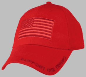 RED Support Our Troops Cap with American Flag