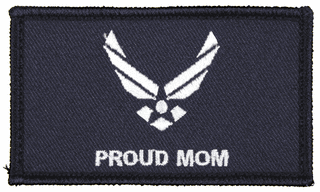 U.S. Air Force Proud Mom 2 x 3 Inch Blue Hook and Loop Patch