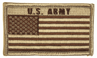U.S. Army American Flag 2 x 3 Inch Tan Hook and Loop Patch