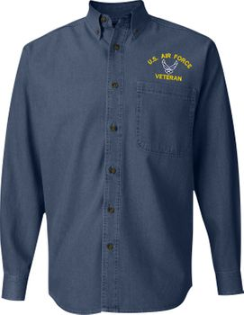United States Air Force Custom Embroidered Denim Button Down Shirt