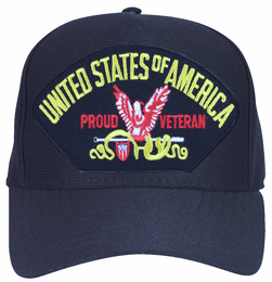 United States of America Proud Veteran with Eagle Ball Cap