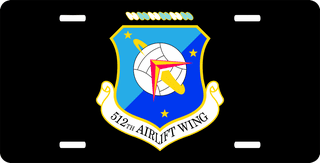 U.S. Air Force 512th Airlift Wing License Plate