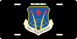 U.S. Air Force 926th Fighter Wing License Plate