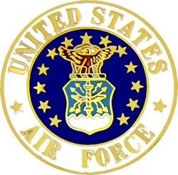 U.S. Air Force SEAL <BR>ROUND LAPEL PIN