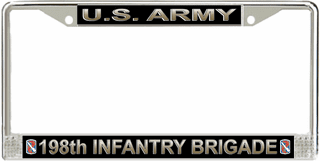 U.S. Army 198th Infantry Brigade License Plate Frame