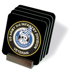 U.S. Army 3rd Infantry Division Unit Crest Veteran Coasters - Set of 4