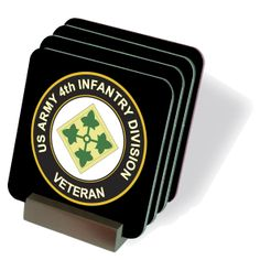 U.S. Army 4th Infantry Division Veteran Coasters - Set of 4