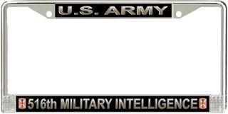 U.S. Army 516th Signal Brigade License Plate Frame