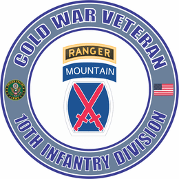 U.S. Army Cold War 10th Mountain Ranger Division Veteran Decal