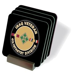 U.S. Army Iraq Veteran 4th Infantry Division Coasters - Set of 4