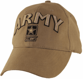 U.S. Army Logo with Text Coyote Brown Ball Cap