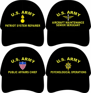 U.S. Army MOS Custom Embroidered Caps