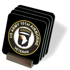 U.S. Army Veteran 101st Airborne Division Coasters - Set of 4