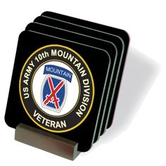 U.S. Army Veteran 10th Mountain Infantry Division Coasters - Set of 4