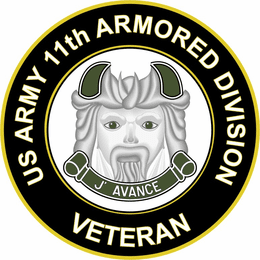 U.S. Army Veteran 11th Armored Division Sticker Decal