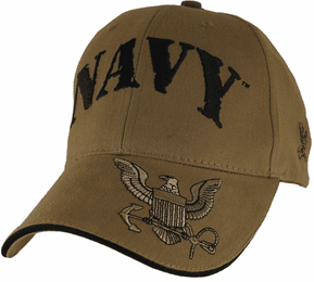 U.S. Navy with Logo on Bill Coyote Brown Cap