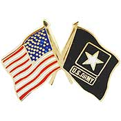 USA / ARMY CROSSED FLAGS <BR>MILITARY LAPEL PIN