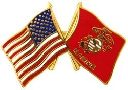 USA / MARINE CORPS CROSSED FLAGS LAPEL PIN