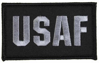 USAF 2 x 3 Inch Black Hook and Loop Patch