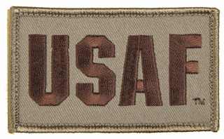 USAF 2 x 3 Inch Tan Hook and Loop Patch