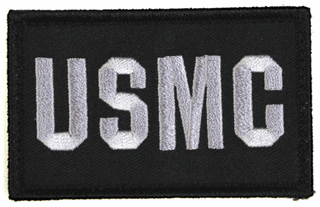 USMC 2 x 3 Inch Black Hook and Loop Patch