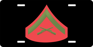 USMC E-3 Lance Corporal Green Red Chevron License Plate