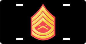 USMC E-7 Gunnery Sergeant Red Gold Chevron License Plate