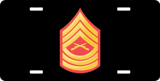 USMC E-8 Master Sergeant Red Gold Chevron License Plate