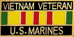 USMC Vietnam Veteran with Ribbon Lapel Pin