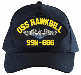 USS Hawkbill SSN-666 Blue Water ( Silver Dolphins ) Submarine Enlisted Custom Embroidered Cap