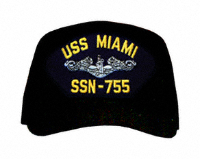 USS Miami SSN-755 ( Silver Dolphins ) Submarine Enlisted Direct Embroidered Cap