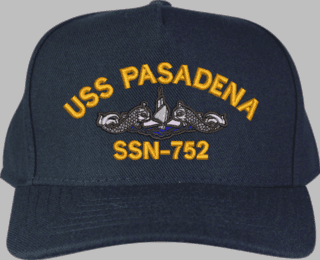 USS Pasadena SSN-752 Blue Water ( Silver Dolphins ) Submarine Enlisted, Custom Embroidered Cap
