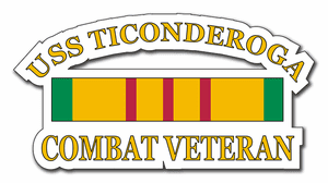 USS Ticonderoga CV-14 Vietnam Combat Veteran with Ribbon  Decal