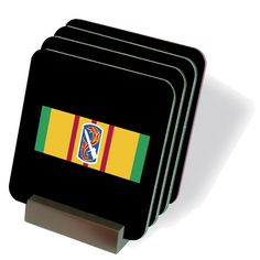 Vietnam Ribbon with 198th Infantry Brigade Coasters - Set of 4