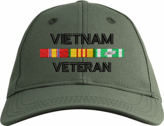 Vietnam Veteran War Conflict 3-Ribbon Stack Made In USA Cotton Twill Cap