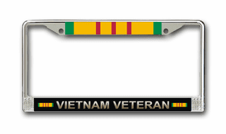 Vietnam Veteran With Ribbon Chrome License Plate Frame