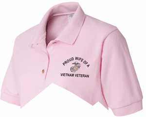Womens Military Pride Embroidered Polo Shirts