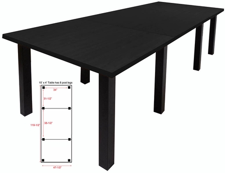 10' x 4' Conference Table w/Square Post Legs