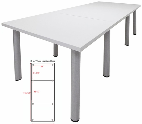 10' x 4' White Conference Table