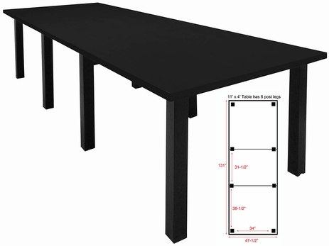 11' x 4' Conference Table w/Square Post Legs