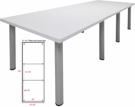 11' x 4' White Conference Table