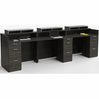 12'W Three-Person Contrasts Custom Standing Height Reception Desk with Drawers