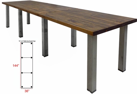 12' x 3' Solid Wood Conference Table with Industrial Steel Legs