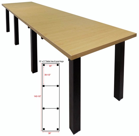 12' x 3' Standing Height Conference Table w/Square Post Legs