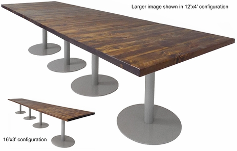 12' x 4' / 16' x 3' Solid Wood Conference Table with Disc Bases