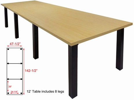 12' x 4' Conference Table w/Square Post Legs