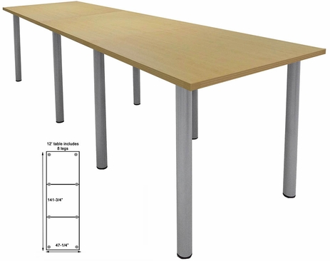 12' x 4' Standing Height Conference Table w/Round Post Legs